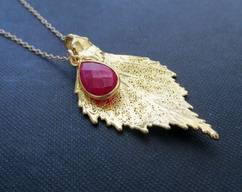 Gold dipped birch leaf necklace with gemstone bezel, ruby necklace, real leaf necklace, autumn jewelry, nature inspired gift