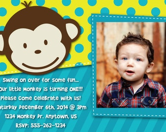 Monkey Invitation OR Thank You Card 1-3 picture options - baby monkey invite- birthday card customized with pictures - mod monkey theme