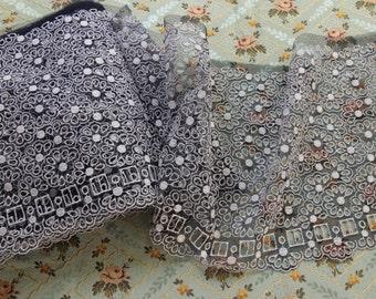 1 yard Vintage nylon lace trim wide sheer dress lingerie trim ribbon threading navy blue white shelf bust
