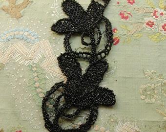 Antique glass  beaded trim  flower Victorian black mourning wear millinery hat flapper dress trim