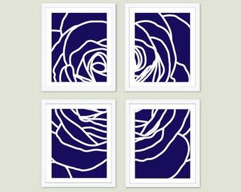 Modern Rose Art Prints - Set of Four - Navy Blue Rose Wall Art - Deconstructed Flower - Spring Summer Decor