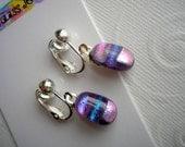 Clip-On Earrings Dichroic Glass Purple Mirage Dangle Earrings Not Pierced Fused Glass Purple Stripe Dichroic Jewelry Clip Earring Petite