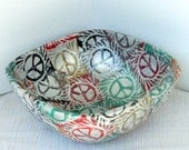 Peace print  bowl  reuse square shape, silver metal bowl with earth tone Peace symbol collage vegan Earth friendly