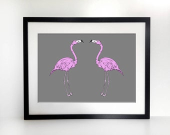 A3 Flamingoes graphic print