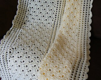 Bouquet of Shells Crocheted Afghan in Buttery Yellow