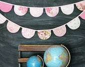 Pink Bunting Banner / Fabric Scallop Flag Garland / Baby Girl Nursery / Baby Shower Birthday Party Decoration / Shabby Chic / Cottage Style