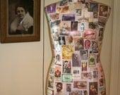 Dress Form Mannequin Deco Style Images, 1920s, Louise Brooks, Josephine Baker, Paris, Peacocks, Decoupage Painted **Ready to Ship**