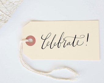 Celebrate Stamp in Calligraphy Handwritten Stamp for Shower, Party, Event or Stationery 1 x 2.5 inches