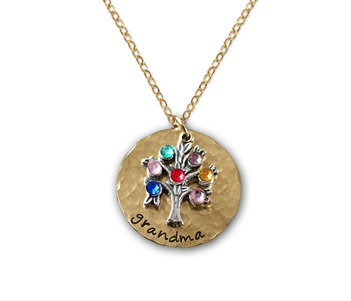Gold grandma hand stamped necklace grandmother jewelry for Grandmother jewelry you can add to