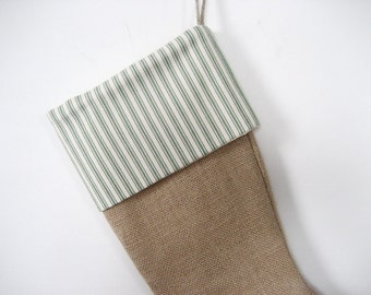 Burlap Christmas Stocking Green & Ivory Ticking Cuff