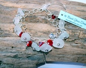 Sterling Charm  Bracelet - Sea Glass Charm Bracelet - Lake Erie Beach Glass