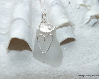 Sterling Beach Glass Necklace - Lake Erie - Sterling Silver Necklace - Heart Necklace