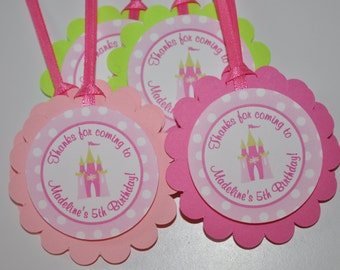 Princess Birthday Party Favor Tags - Princess Birthday Party Decorations - Pink, Lime Green and White Polkadots - Set of 12