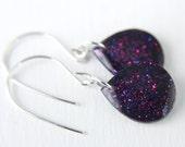 purple drop earrings on sterling silver wires, purple glitter earrings, purple earrings, glitter earrings, dangle earrings