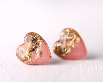pink heart post earrings with gold leaf and gold glitter, sterling silver post earring, nickel free posts, valentine's day gift - LARGE SIZE