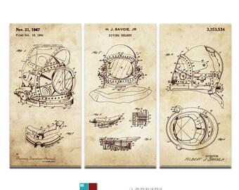 Diving Helmet Blueprint Patent Triptych Canvas Giclee - 36x24