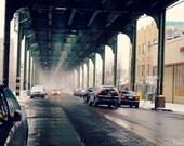 Light Snow on the NYC Subway Tracks, New York City Photography Print, Brooklyn Wall Art, Bushwick Photo