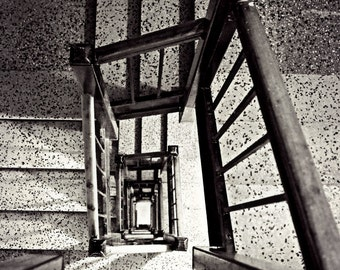 Going Down, Staircase Photography Print, Stairs Photo Print, Black and White Wall Art