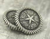 Metal Buttons - Roped Star Metal Buttons , Antique Silver Color , Shank , 0.71 inch , 6 pcs