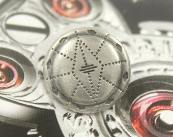 Metal Buttons - Lozenge Lines Metal Buttons , Nickel Silver Color , Shank , 0.67 inch , 10 pcs