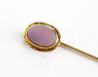 Sale - Antique Edwardian 10k Yellow Gold Banded Agate Stick Pin - Vintage Early 1900s Edwardian Light Purple, Maroon Oval Gem Fine Jewelry