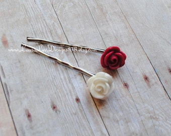 Hot Pink and White Flowers Bobby Pins Set of 2 Bobby Pins READY TO SHIP by LauraLeeDesigns108