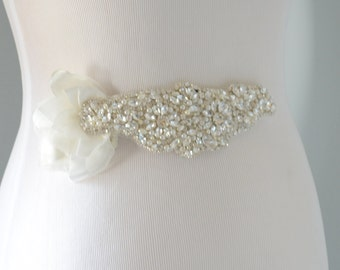 SALE One of a Kind Bridal Couture Sash,Ivory Flower Petal sash,Ivory petals with rhinestones and pearls sash,Cluster Couture Sash Headpiece