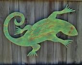 Tropical Lizard, Rustic Wall Art, Gecko, Beach House Decor