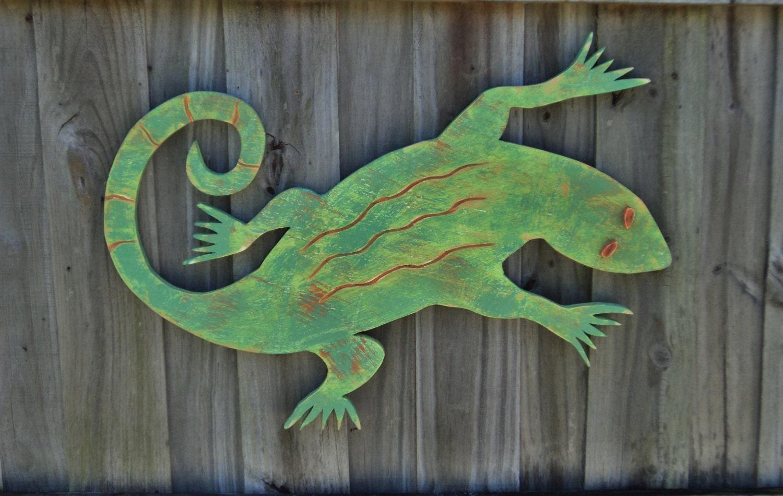 Lizard wooden gecko rustic wall art beach house decor for Gecko wall art