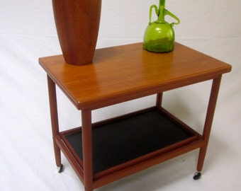 Danish Modern Teak Denmark BAR CART FLIP Table with tray rolling Grete Jalk Server Serving