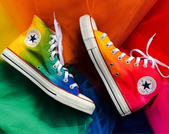 Rainbow Tie Dye Custom Converse High Top Shoes