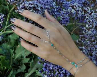 Turquoise and Silver Slave Bracelet