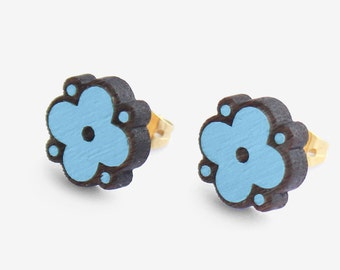 Open Flower studs Forest Found sky blue