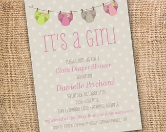 Cloth Diaper Shower Printable Invite Hot Pink and Lime Green Polka Dots Baby Shower Baby Girl Cloth Diaper Clothesline Printable Invitation