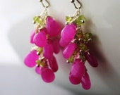 Peridot and Pink Jade Earrings, Pink Earrings, Cluster Earrings, Peridot Earrings, Silver Earrings, Cluster Earrings, Pink Earrings