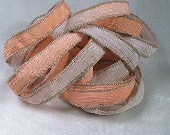 Hand Dyed Silk Ribbons - Crinkle Silk Jewelry Bracelet Fairy Ribbon - Quintessence - Coral Beach