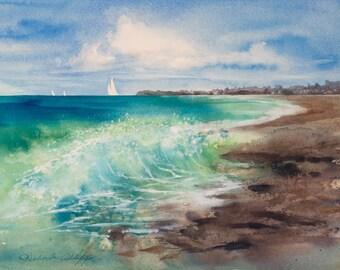 Seaside Wave Watercolor Beach Print California Coast, Blue, Green, Giclee, Interior Design and Decor