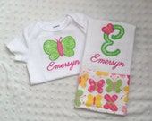 Baby Girl Personalized 2 Piece Gift Set  - Bodysuit and Burp Cloth- Pastel Butterflies