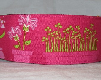 Pink Flowerbed Martingale Collar - 2 inch - magenta lime green flowers floral cute unique urban adorable spring garden
