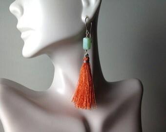 Orange silk tassel turquoise blue opal dangle flirty earrings zen