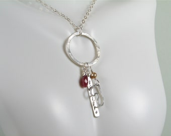 Love life ruby drop silver heart  charm silver tag necklace