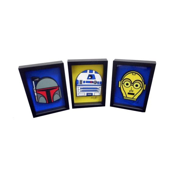 Star Wars Print of Star Wars Art Set of Boba Fett R2D2 and C-3PO 3D Pop Artwork Droid Art