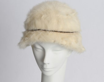 Ivory Fur Hat With Beads and Pearls 1950's Cloche by Chapeaux