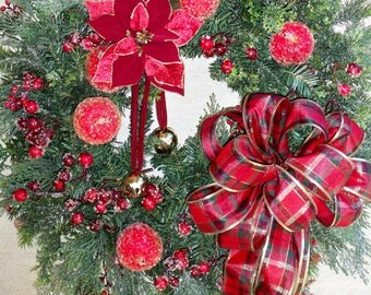 Lg Traditional Christimas Wreath, Holiday Wreath, Poinsettia, Jingle Bells, Flocked Greens with Berries, Large Plaid Bow