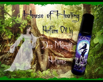 HOUSE of HEALING Perfume Oil, Fantasy Perfume inspired by The HOBBIT, Iris Flowers, Linden Blossoms, Woods, and Greens