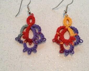 Needle Tatted Earrings  in Tie Dye Colors