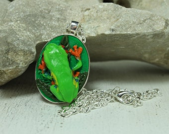 Red Eye tree frog pendant Nature jewelry