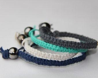 Hemp Bracelet Set Blues