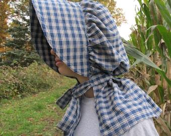 Bonnet - blue plaid homespun fabric - 100% cotton - neck shade - buckram brim - no elastic! - historically accurate