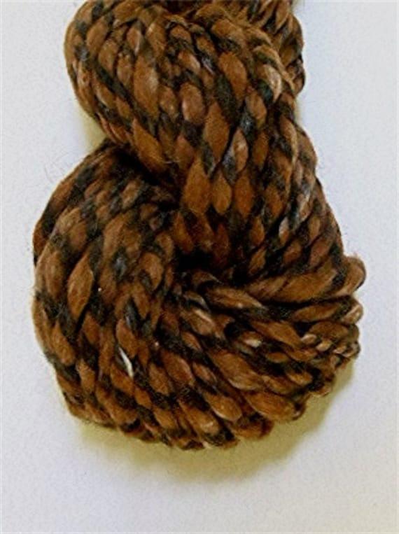 "Handspun Alpaca Yarn 60 Yards Undyed Black and Brown Super Bulky Knitting Supplies Doll Hair Craft Supplies Crochet  "" Swirl """